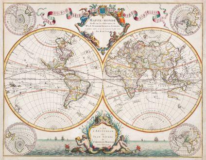 Antike Landkarten, Covens and Mortier, Weltkarte, 1730: Mappe-Monde Dresse sur les Observations de Mrs de l'Academie Royale des Sciences