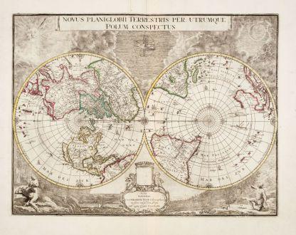 Antike Landkarten, Valk, Weltkarte, 1672 [1695]: Novus Planiglobii Terrestris per Utrumque Polum Conspectus