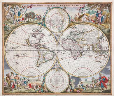 Antike Landkarten, de Wit, Weltkarte, 1665: Nova Orbis Tabula, in Lucem Edita, A. F. De Wit