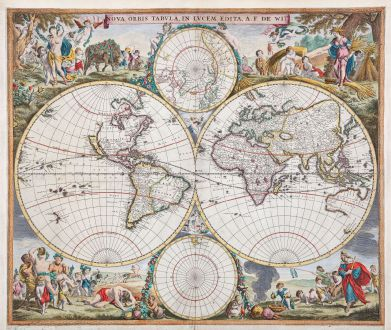 Antique Maps, de Wit, World Map, 1665: Nova Orbis Tabula, in Lucem Edita, A. F. De Wit