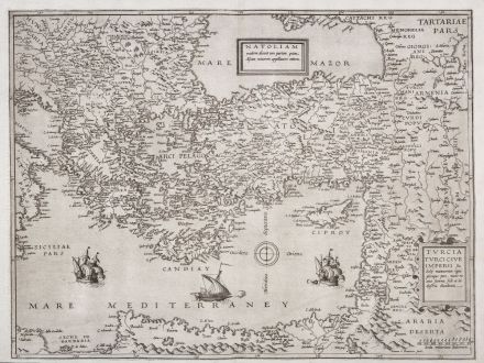 Antike Landkarten, de Jode, Türkei, Osmanisches Reich, 1578: Natoliam Moderni / Turcia Turci Cive Imperii