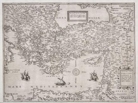 Antique Maps, de Jode, Turkey, Turkish Empire, Ottoman Empire, 1578: Natoliam Moderni / Turcia Turci Cive Imperii