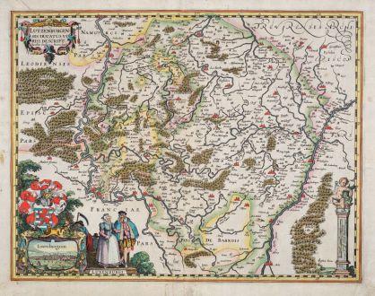 Antique Maps, van den Keere, Luxembourg, 1617 [1625]: Lutzenburgensis Ducatus Veriss. Descript. Iacobo Surhonio Monta. Auct.