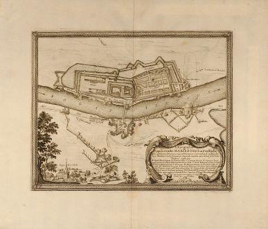 Antike Landkarten, von Pufendorf, Polen, Malbork, Marienburg, 1697: Ichnogrphia Oppidi et Castri Marieburgi in Prussia