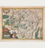 Coloured map of Luxembourg. Printed in Amsterdam by Petrus Kaerius in 1617.