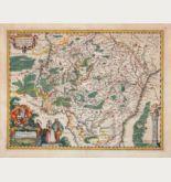 Kolorierte Landkarte von Luxemburg. Gedruckt bei Petrus Kaerius im Jahre 1617 in Amsterdam.