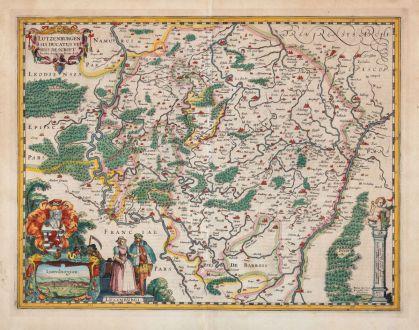 Antike Landkarten, van den Keere, Luxemburg, 1617: Lutzenburgensis Ducatus Veriss. Descript. Iacobo Surhonio Monta. Auct.