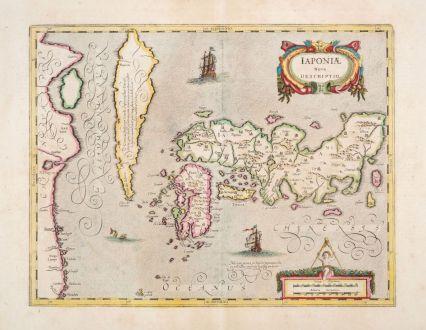 Antique Maps, Janssonius, Japan - Korea, 1639-49: Iaponiae Nova Descriptio