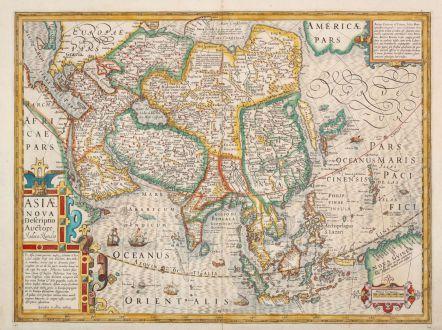 Antike Landkarten, Hondius, Asien Kontinent, 1613-19: Asiae Nova Descriptio Auctore Jodoco Hondio