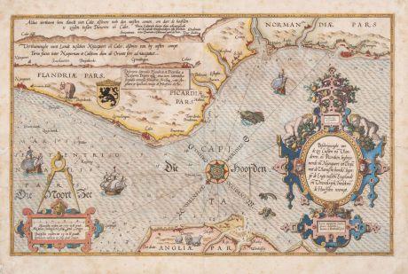 Antike Landkarten, Waghenaer, Frankreich, Ärmelkanal, 1590: Beschrijuinghe van de Zee Custen va Vlanderen en Picardien ...