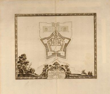 Antique Maps, Pufendorf, Poland, Chrzistopora, 1697: Elegentissima et bene munita Arx. Chrzistopora.