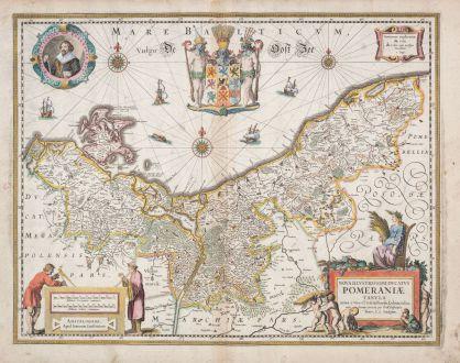 Antique Maps, Janssonius, Poland, Pomerania, 1630: Nova Illustrissimi Ducatus Pomeraniae Tabula
