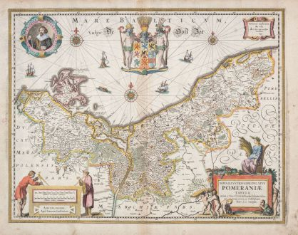 Antike Landkarten, Janssonius, Polen, Pommern, 1630: Nova Illustrissimi Ducatus Pomeraniae Tabula