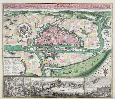 Antike Landkarten, Seutter, Deutschland, Bayern, Regensburg, 1730: Regensburg eine mitten in Bayren an der Donau gelegene / Ratisbona in media Bavaria