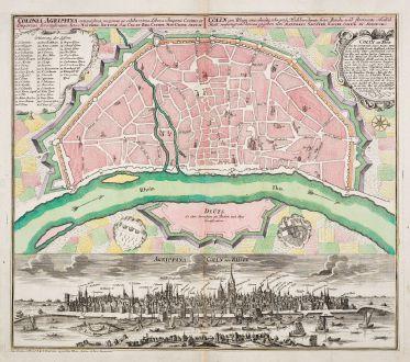 Antique Maps, Seutter, Germany, Nordrhein-Westfalen, Cologne, Köln, 1730: Cölln am Rhein eine uhralte, sehr grosse, Hochberühmte freye Reichs- und florisante Handel-Statt / Colonia Agrippina