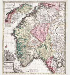 Regnum Norwegiae Accurata et Novissima Delineatione juxta V. Praefecturas Generales Aggerhusiensem, Bergensem, Nidrosiens,...