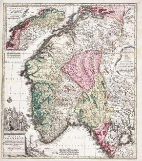 Antique Maps, Seutter, Norway, 1730: Regnum Norwegiae Accurata et Novissima Delineatione juxta V. Praefecturas Generales Aggerhusiensem, Bergensem, Nidrosiens,...