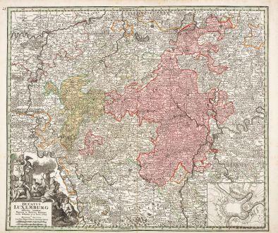 Antike Landkarten, Seutter, Luxemburg, 1730: Ducatus Luxemburg Distintis Limitibus Majorum et Minorum Ditionum Exacte Designatus et in Lucem Editus