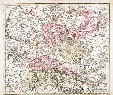 Antike Landkarten, Seutter, Baltikum, Lettland, Litauen, 1730: Novissima et Accuratissima Magni Ducatus Lithuaniae