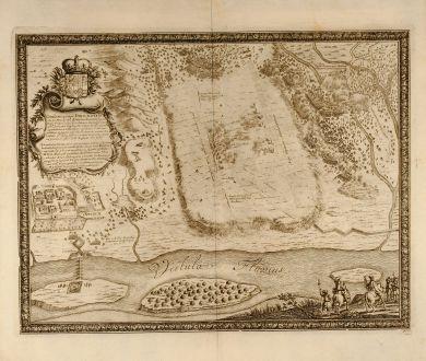 Antike Landkarten, Pufendorf, Polen, Tczew, Dirschau, 1697: Conflictus prope Dirschaviam