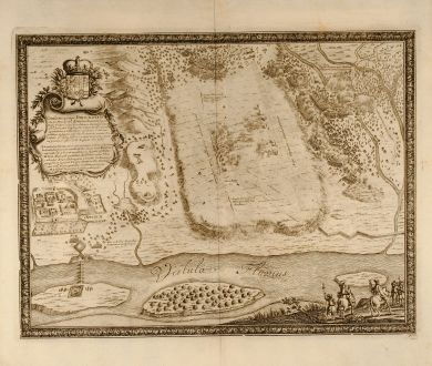 Antike Landkarten, von Pufendorf, Polen, Tczew, Dirschau, 1697: Conflictus prope Dirschaviam
