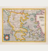 Coloured map of Greece. Printed in Amsterdam by Henricus Hondius in 1628.