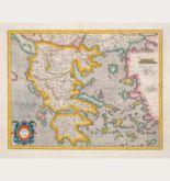 Kolorierte Landkarte von Griechenland. Gedruckt bei Henricus Hondius im Jahre 1628 in Amsterdam.