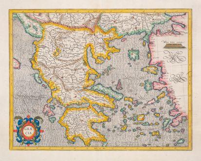 Antique Maps, Mercator, Greece, 1628: Graecia