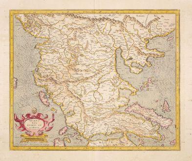 Antike Landkarten, Mercator, Griechenland, 1623: Macedonia Epirus et Achaia