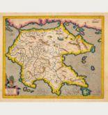 Kolorierte Landkarte von Griechenland. Gedruckt bei Jodocus Hondius & Cornelis Claesz im Jahre 1606 in Amsterdam.