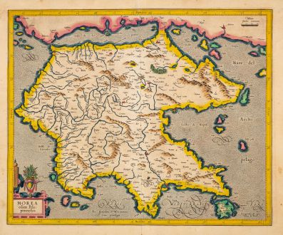 Antike Landkarten, Mercator, Griechenland, 1606: Morea olim Peloponnesus