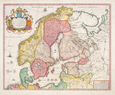 Antike Landkarten, Blaeu, Skandinavien, 1643-50: Suecia, Dania, et Norvegia, Regna Europae Septentrionalia