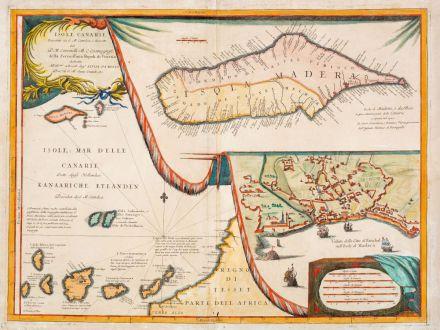 Antike Landkarten, Coronelli, Spanien - Portugal, Madeira und den Kanaren, 1696: Isole Canarie