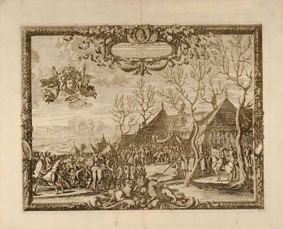 Antike Landkarten, Pufendorf, Polen, Carl Gustaf, Rakoczy, 1697: Tabula in qua ostenditur quomodo Ser. Rex Sueciae Celsiss. Transiluaniae Principem Prope Pagum Moidlbositze solenniter...