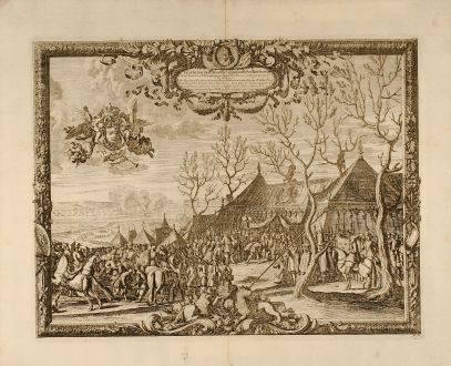Antike Landkarten, von Pufendorf, Polen, Carl Gustaf, Rakoczy, 1697: Tabula in qua ostenditur quomodo Ser. Rex Sueciae Celsiss. Transiluaniae Principem Prope Pagum Moidlbositze solenniter...