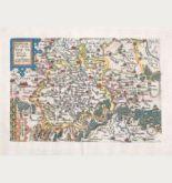 Kolorierte Landkarte der Lausitz, Meißen, Sachsen, Brandenburg. Gedruckt bei J. Bussemacher um 1600 in Köln.