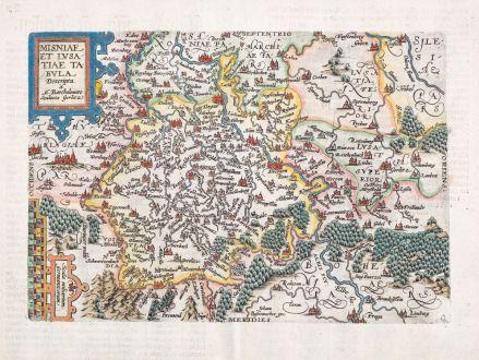 Antike Landkarten, Quad, Deutschland, Brandenburg, Sachsen, Meißen, Lausitz: Misniae Et Lusatiae Tabula