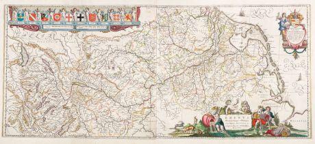 Antike Landkarten, Blaeu, Deutschland, Rhein, Rheinlauf, 1635: Rhenus Fluviorum Europae Celeberrimus, cum Mosa, Mosella, et Reliquis, in illum se Exonerantibus, Fluminibus