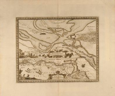 Antique Maps, von Pufendorf, Poland, Nogat, Malbork, Elblag, 1697: Delineatio et Situs Montower Spitze / Exquisita Delineatio Fluvii Nogat