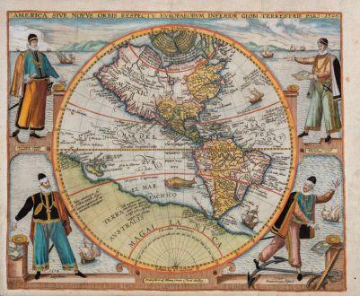 Antike Landkarten, de Bry, Amerika Kontinent, 1596: America sive Novus Orbis Respectu Europaeorum Inferior Globi Terrestris Pars 1596