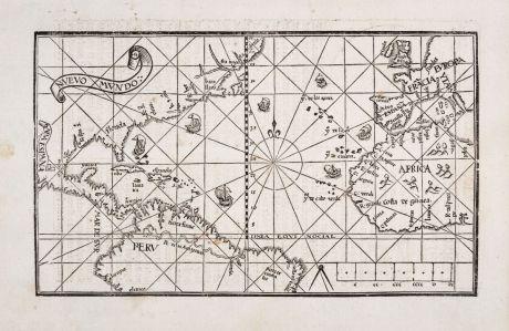 Antique Maps, de Medina, Atlantic Ocean, 1545: Nuevo Mundo