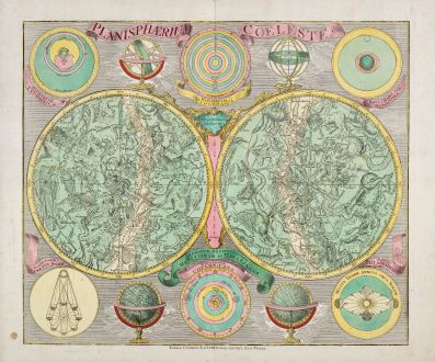 Antique Maps, Lotter, Celestial Charts, 1750: Planisphaerium Coeleste