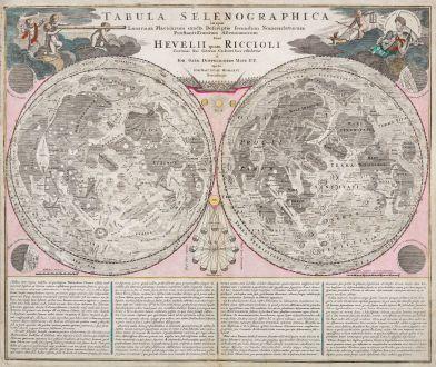 Antique Maps, Doppelmayr, Moon, Lunar Hemispheres, 1730: Tabula Selenographica in qua Lunarium Macularum