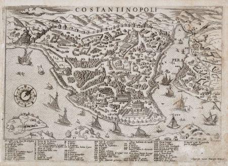 Antike Landkarten, Camocio, Türkei, Istanbul, Konstantinopel, 1566-71: Costantinopoli