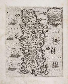 Antique Maps, Camocio, Greece, Crete, 1571: Candia vel Creta insula posta nel mare Mediterraneo...