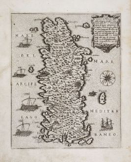 Antike Landkarten, Camocio, Griechenland, Kreta, 1571: Candia vel Creta insula posta nel mare Mediterraneo...