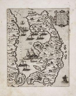 Antique Maps, Camocio, Greece, Corfu, 1571: Corfu insula antiquamente detta Malena...