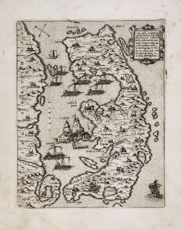 Antike Landkarten, Camocio, Griechenland, Korfu, 1571: Corfu insula antiquamente detta Malena...