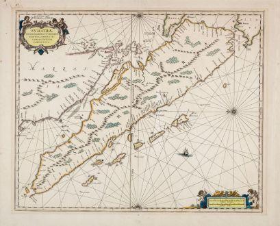 Antique Maps, Valk & Schenk, Southeast Asia, Sumatra, Indonesia, Malaysia: Sumatrae et Insularum Locorum que Nonnull Orum Cir-cumia Centium Tabula Noua