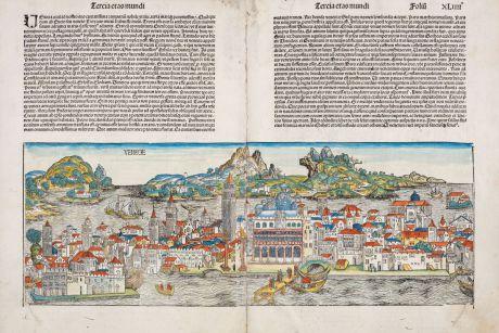Antique Maps, Schedel, Italy, Venice, Venezia, 1493: Venecie